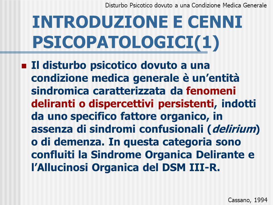 INTRODUZIONE E CENNI PSICOPATOLOGICI(1)