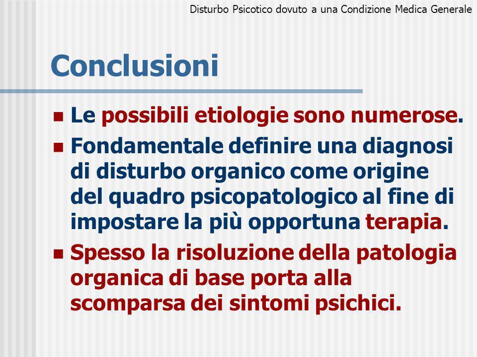 Conclusioni Le possibili etiologie sono numerose.