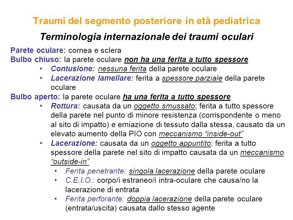 Traumi del segmento posteriore in età pediatrica Terminologia internazionale dei traumi oculari
