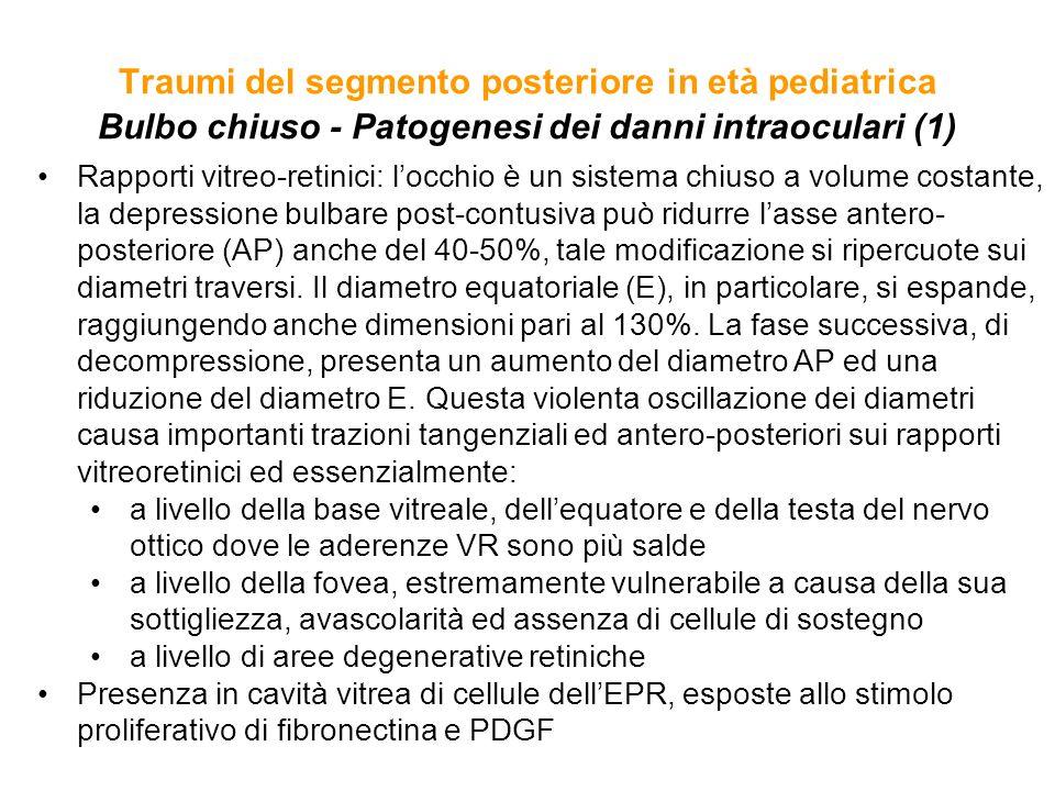 Traumi del segmento posteriore in età pediatrica Bulbo chiuso - Patogenesi dei danni intraoculari (1)