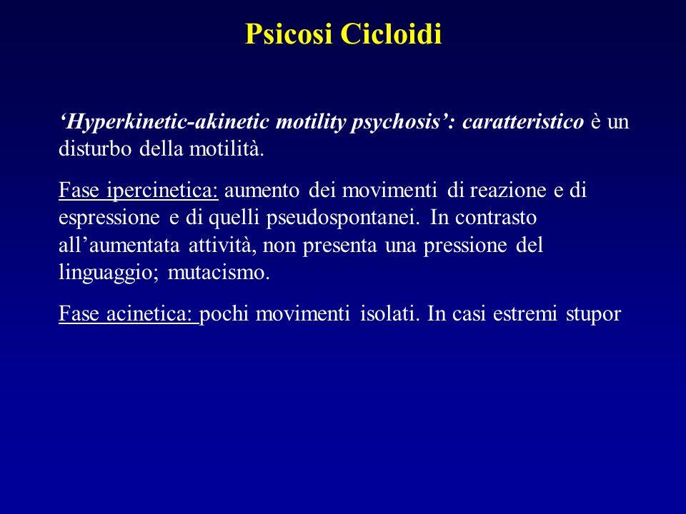 Psicosi Cicloidi 'Hyperkinetic-akinetic motility psychosis': caratteristico è un disturbo della motilità.