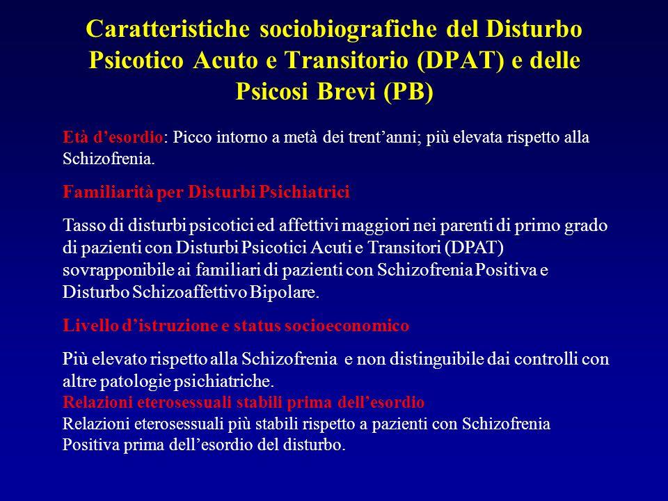 Caratteristiche sociobiografiche del Disturbo Psicotico Acuto e Transitorio (DPAT) e delle Psicosi Brevi (PB)