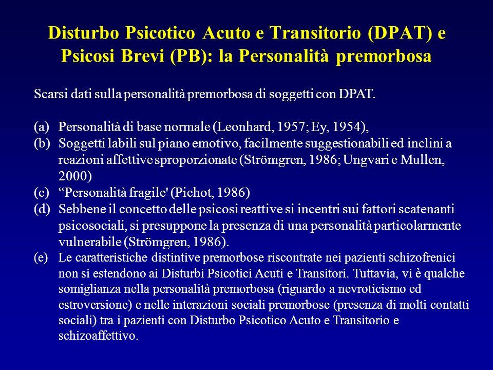Disturbo Psicotico Acuto e Transitorio (DPAT) e Psicosi Brevi (PB): la Personalità premorbosa