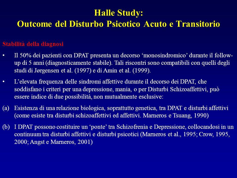 Halle Study: Outcome del Disturbo Psicotico Acuto e Transitorio
