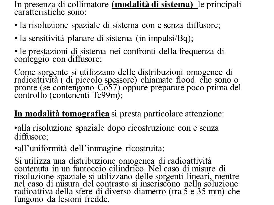 In presenza di collimatore (modalità di sistema) le principali caratteristiche sono: