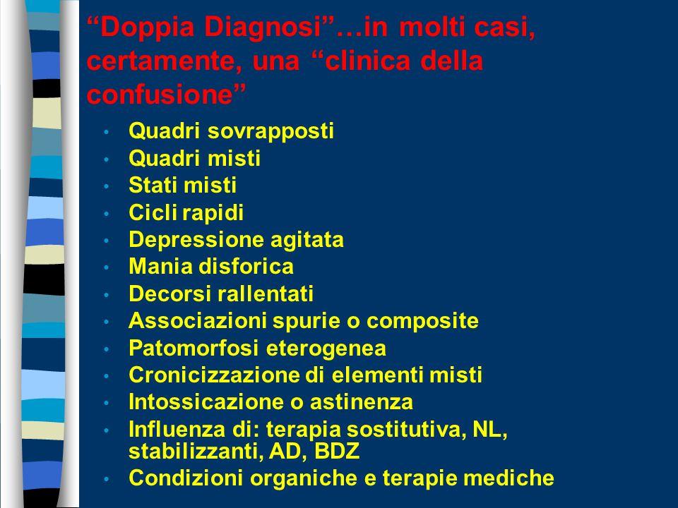 Doppia Diagnosi …in molti casi, certamente, una clinica della confusione