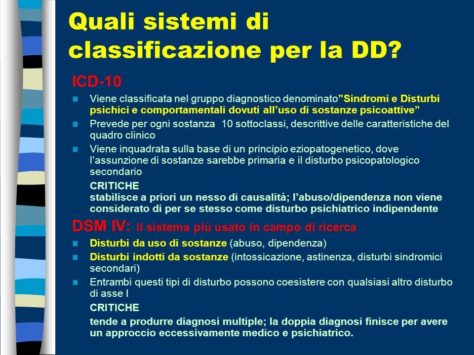 Quali sistemi di classificazione per la DD