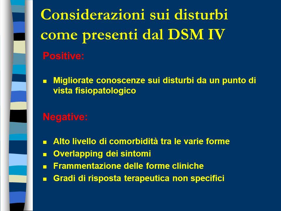 Considerazioni sui disturbi come presenti dal DSM IV