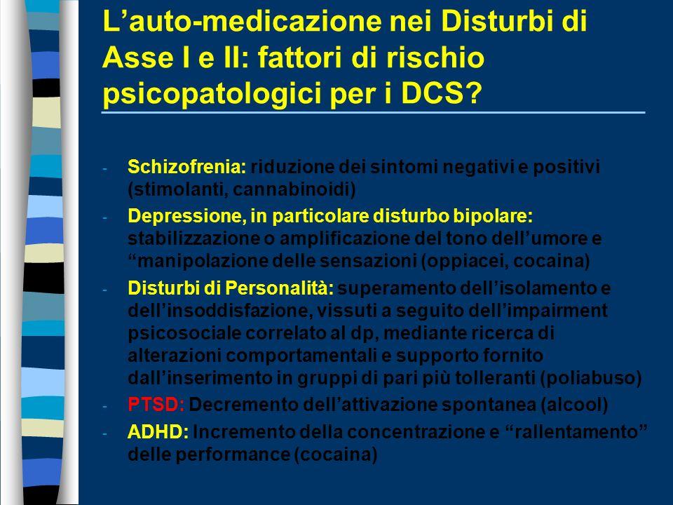 L'auto-medicazione nei Disturbi di Asse I e II: fattori di rischio psicopatologici per i DCS