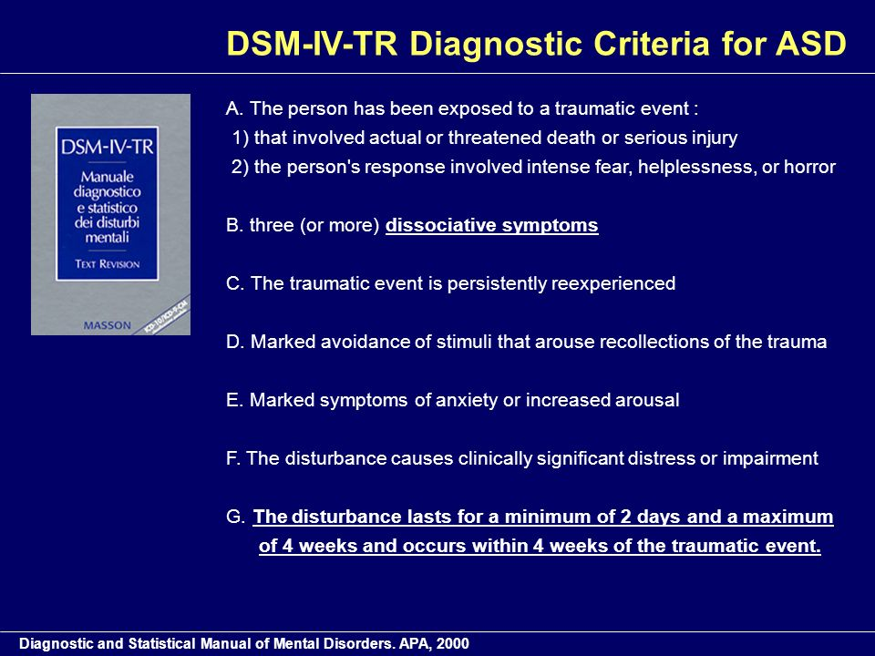 DSM-IV-TR Diagnostic Criteria for ASD