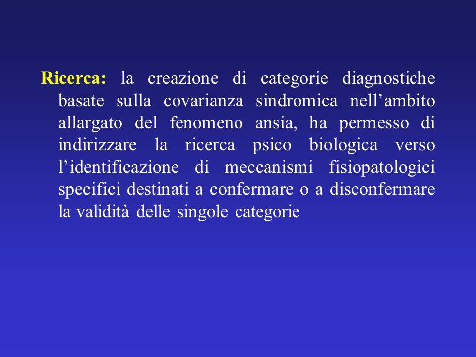 Ricerca: la creazione di categorie diagnostiche basate sulla covarianza sindromica nell'ambito allargato del fenomeno ansia, ha permesso di indirizzare la ricerca psico biologica verso l'identificazione di meccanismi fisiopatologici specifici destinati a confermare o a disconfermare la validità delle singole categorie