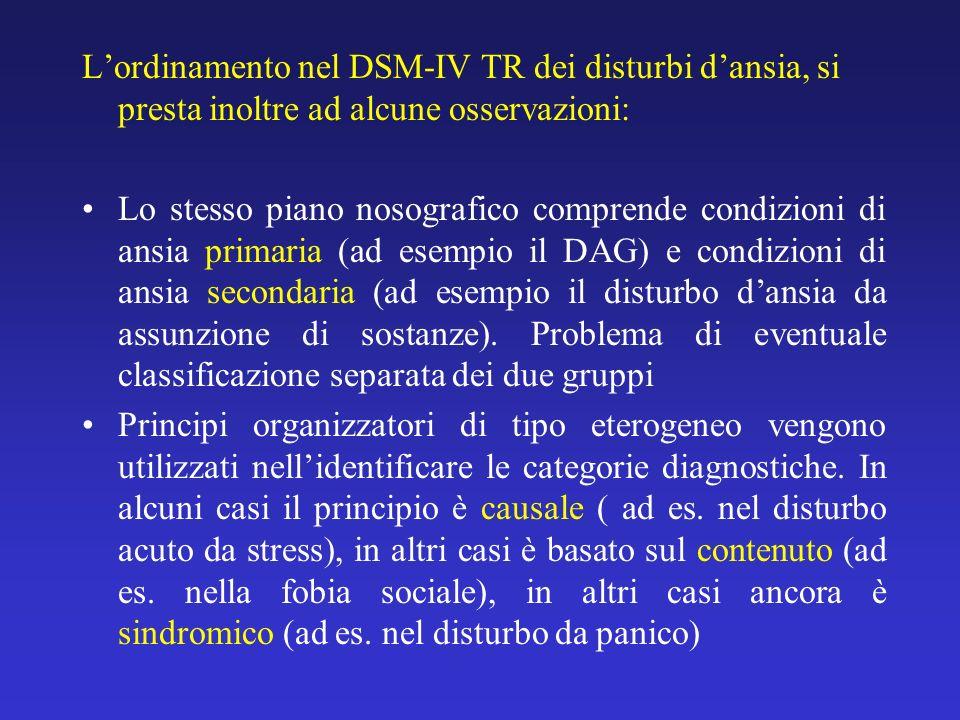 L'ordinamento nel DSM-IV TR dei disturbi d'ansia, si presta inoltre ad alcune osservazioni: