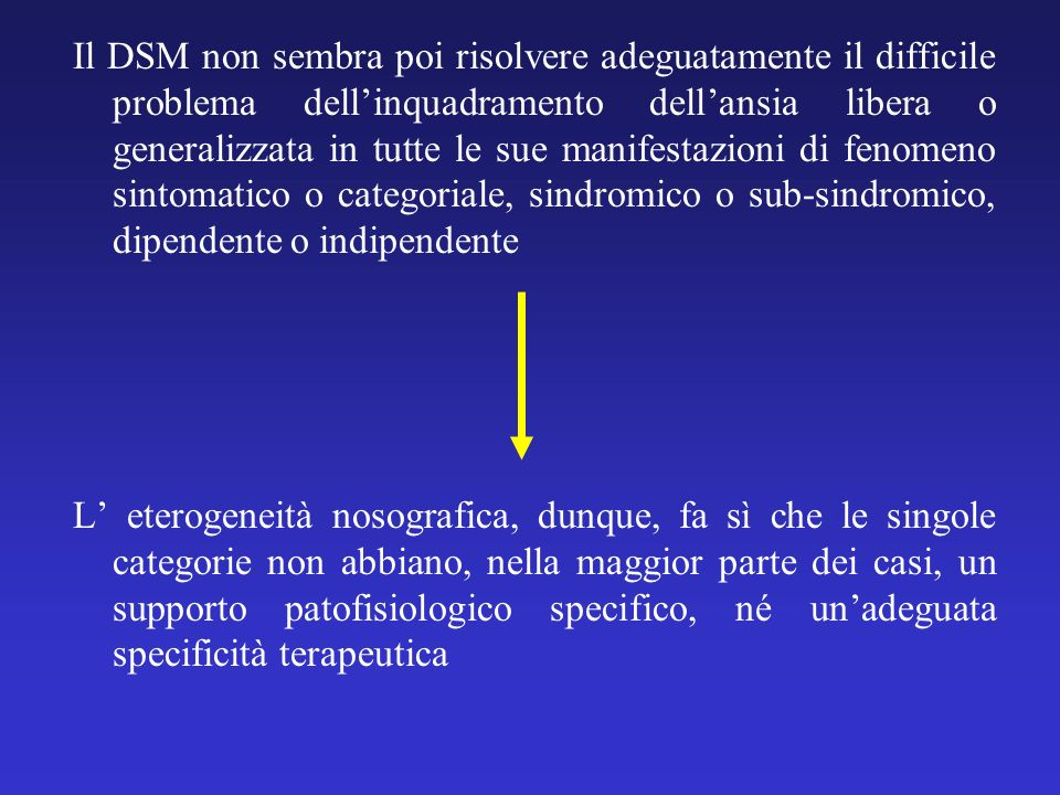 Il DSM non sembra poi risolvere adeguatamente il difficile problema dell'inquadramento dell'ansia libera o generalizzata in tutte le sue manifestazioni di fenomeno sintomatico o categoriale, sindromico o sub-sindromico, dipendente o indipendente