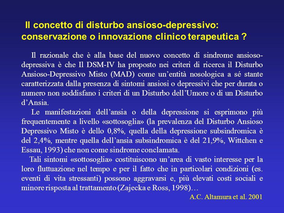 Il concetto di disturbo ansioso-depressivo: conservazione o innovazione clinico terapeutica
