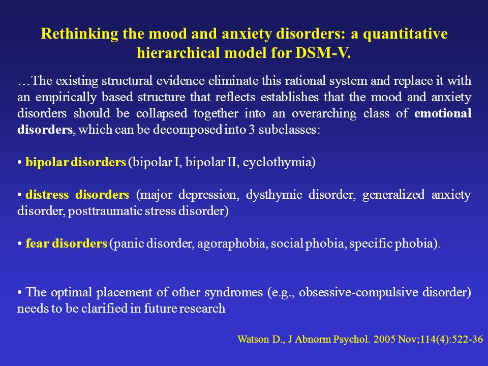 Rethinking the mood and anxiety disorders: a quantitative hierarchical model for DSM-V.