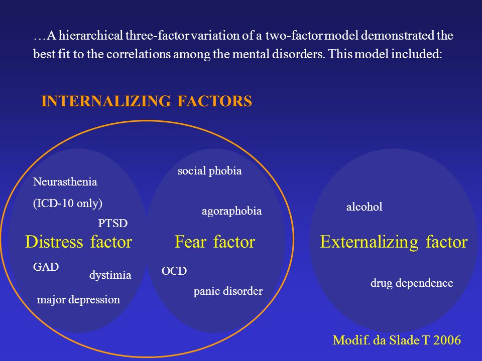 Distress factor Fear factor Externalizing factor INTERNALIZING FACTORS
