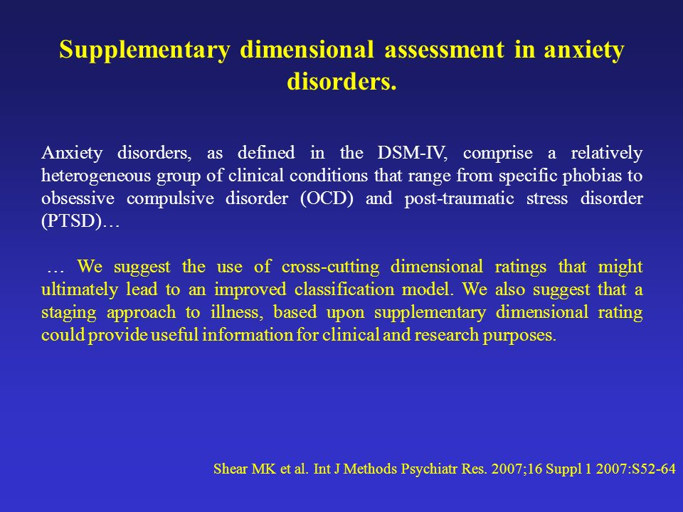 Supplementary dimensional assessment in anxiety disorders.
