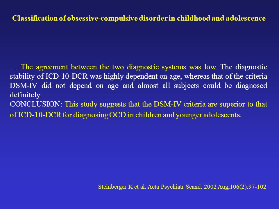Classification of obsessive-compulsive disorder in childhood and adolescence