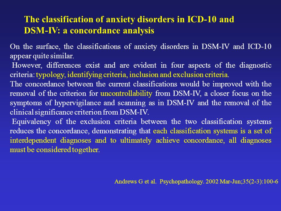 The classification of anxiety disorders in ICD-10 and DSM-IV: a concordance analysis