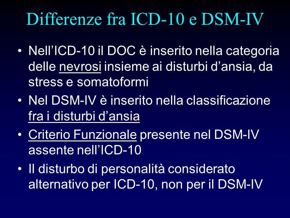 Differenze fra ICD-10 e DSM-IV