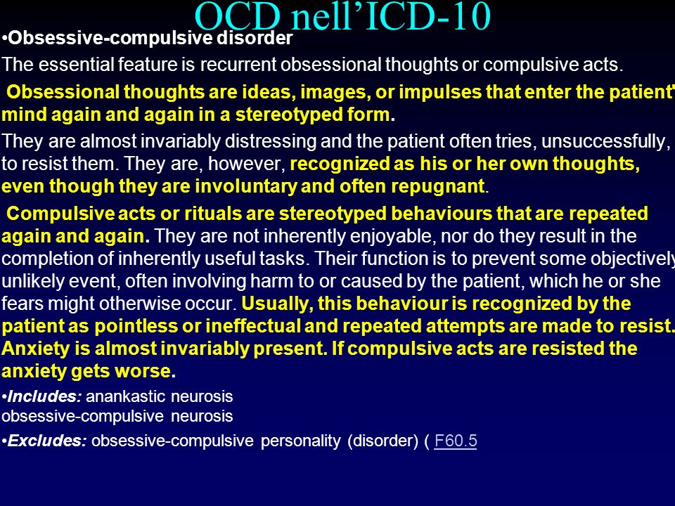 OCD nell'ICD-10 Obsessive-compulsive disorder