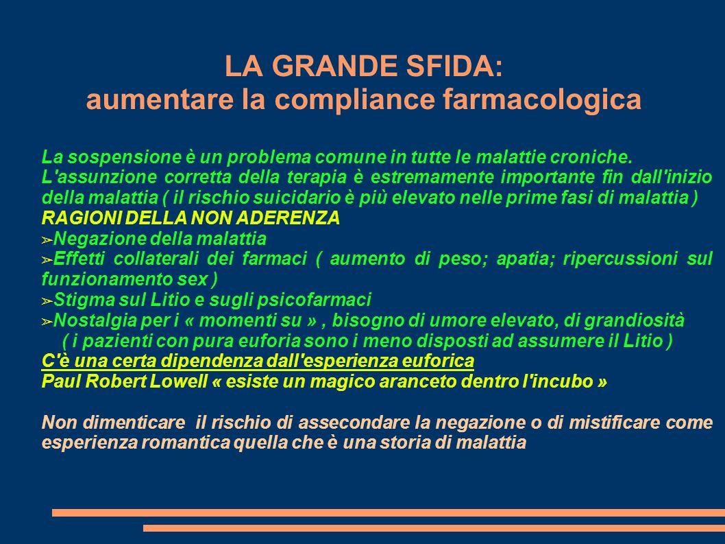 LA GRANDE SFIDA: aumentare la compliance farmacologica