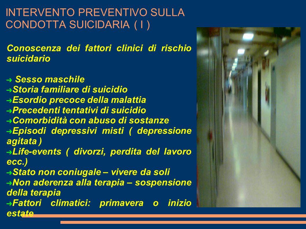 INTERVENTO PREVENTIVO SULLA CONDOTTA SUICIDARIA ( I )