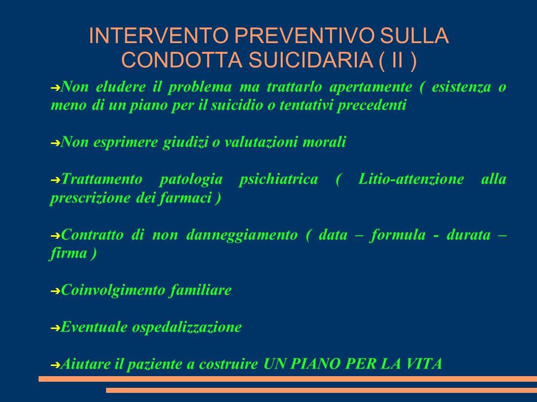 INTERVENTO PREVENTIVO SULLA CONDOTTA SUICIDARIA ( II )