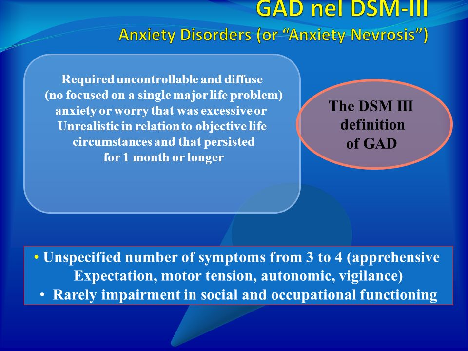 GAD nel DSM-III Anxiety Disorders (or Anxiety Nevrosis )