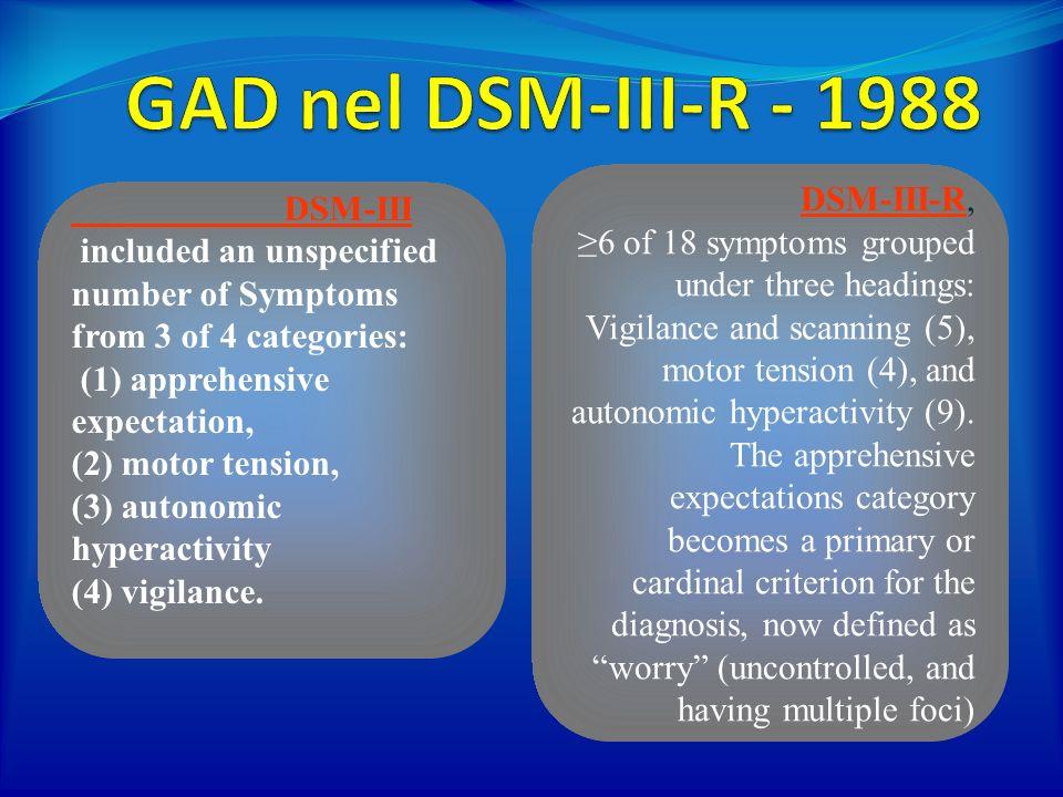 GAD nel DSM-III-R - 1988