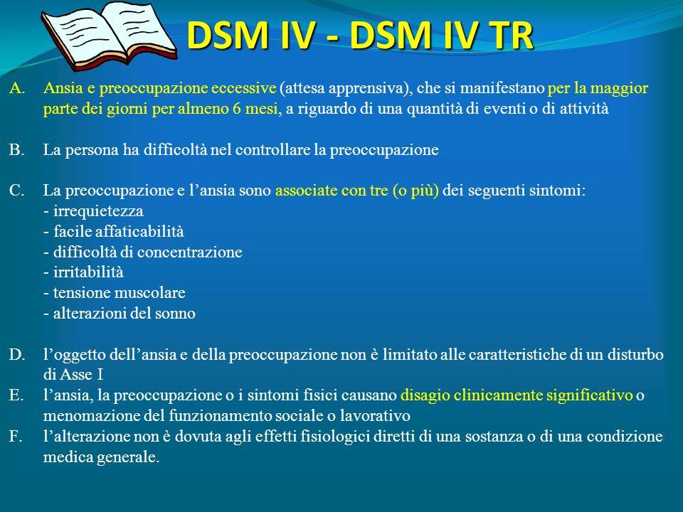 DSM IV - DSM IV TR Ansia e preoccupazione eccessive (attesa apprensiva), che si manifestano per la maggior.