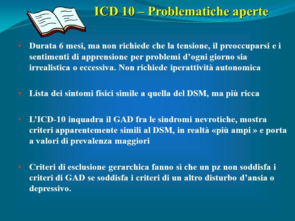 ICD 10 – Problematiche aperte