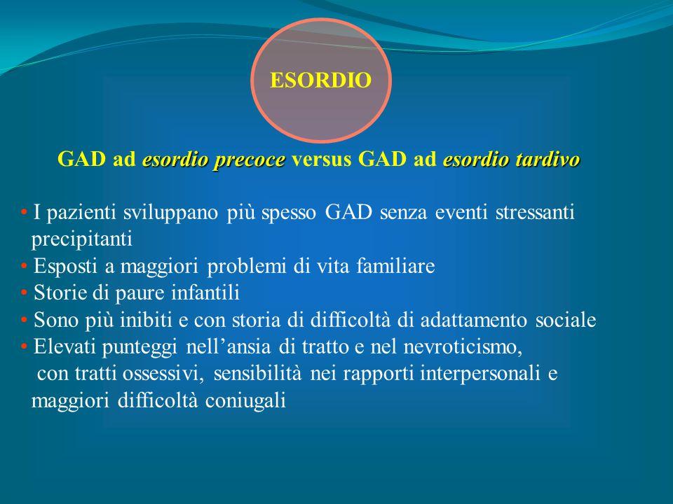 GAD ad esordio precoce versus GAD ad esordio tardivo