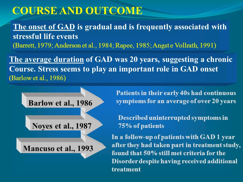 COURSE AND OUTCOMEThe onset of GAD is gradual and is frequently associated with. stressful life events.