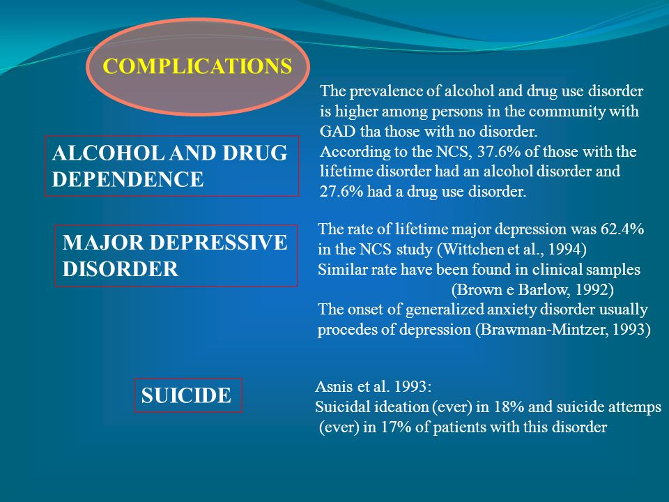 COMPLICATIONS ALCOHOL AND DRUG DEPENDENCE MAJOR DEPRESSIVE DISORDER