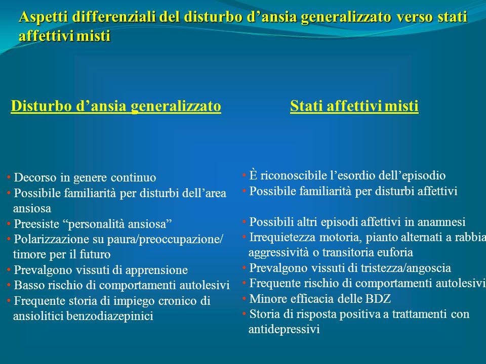 Aspetti differenziali del disturbo d'ansia generalizzato verso stati