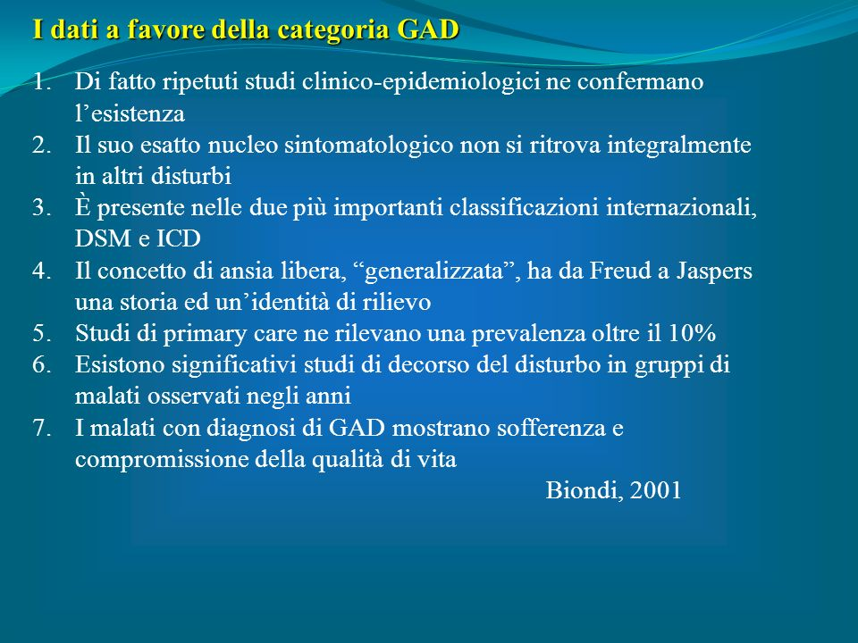 I dati a favore della categoria GAD