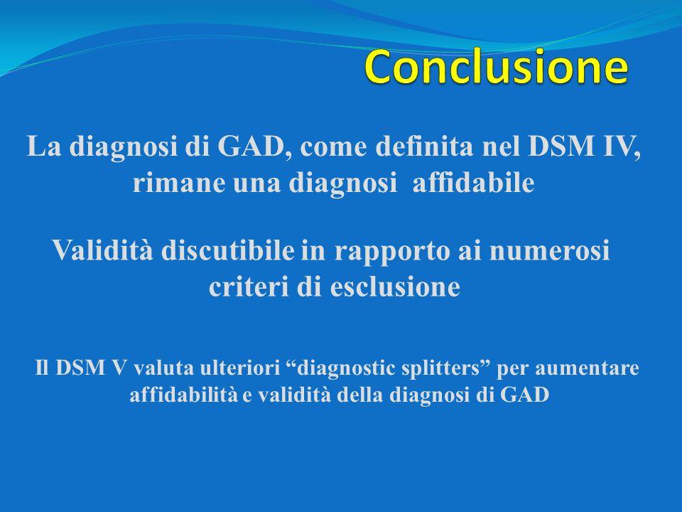 Conclusione La diagnosi di GAD, come definita nel DSM IV,