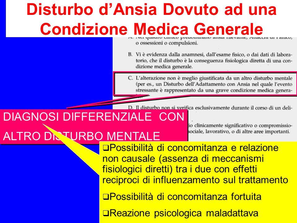 Disturbo d'Ansia Dovuto ad una Condizione Medica Generale