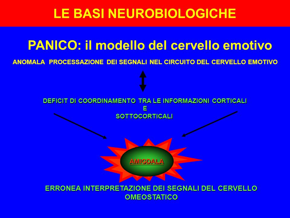 LE BASI NEUROBIOLOGICHE PANICO: il modello del cervello emotivo
