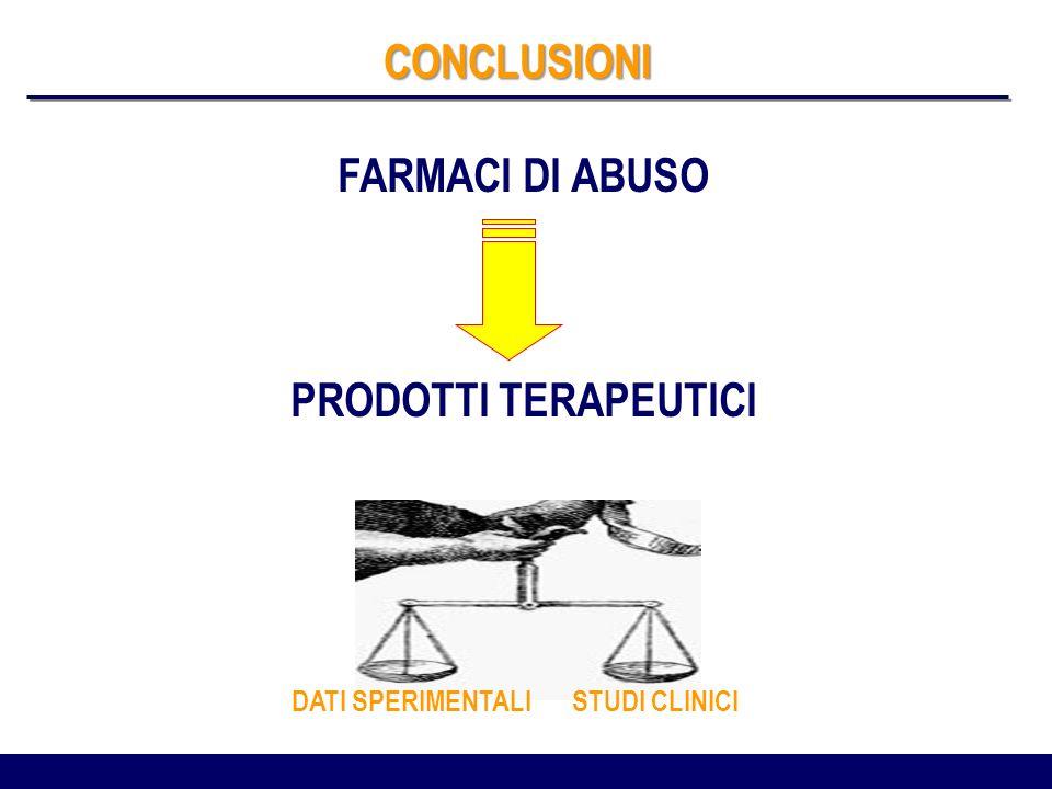 CONCLUSIONI FARMACI DI ABUSO PRODOTTI TERAPEUTICI