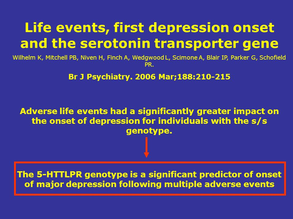 Life events, first depression onset and the serotonin transporter gene