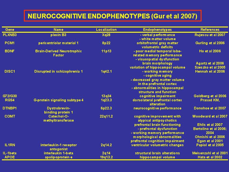 NEUROCOGNITIVE ENDOPHENOTYPES (Gur et al 2007)