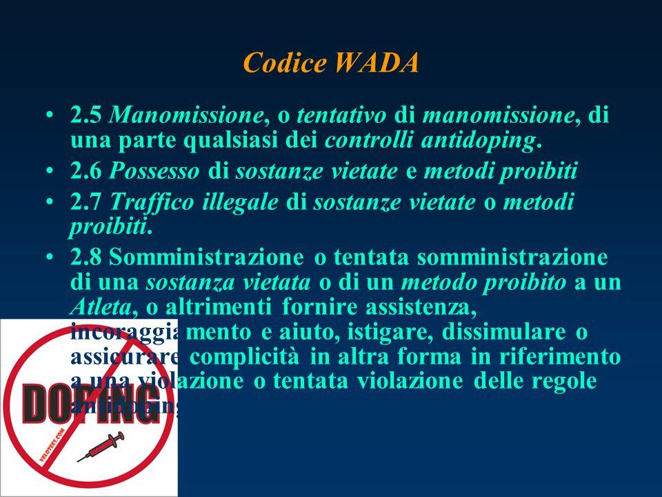 Codice WADA 2.5 Manomissione, o tentativo di manomissione, di una parte qualsiasi dei controlli antidoping.