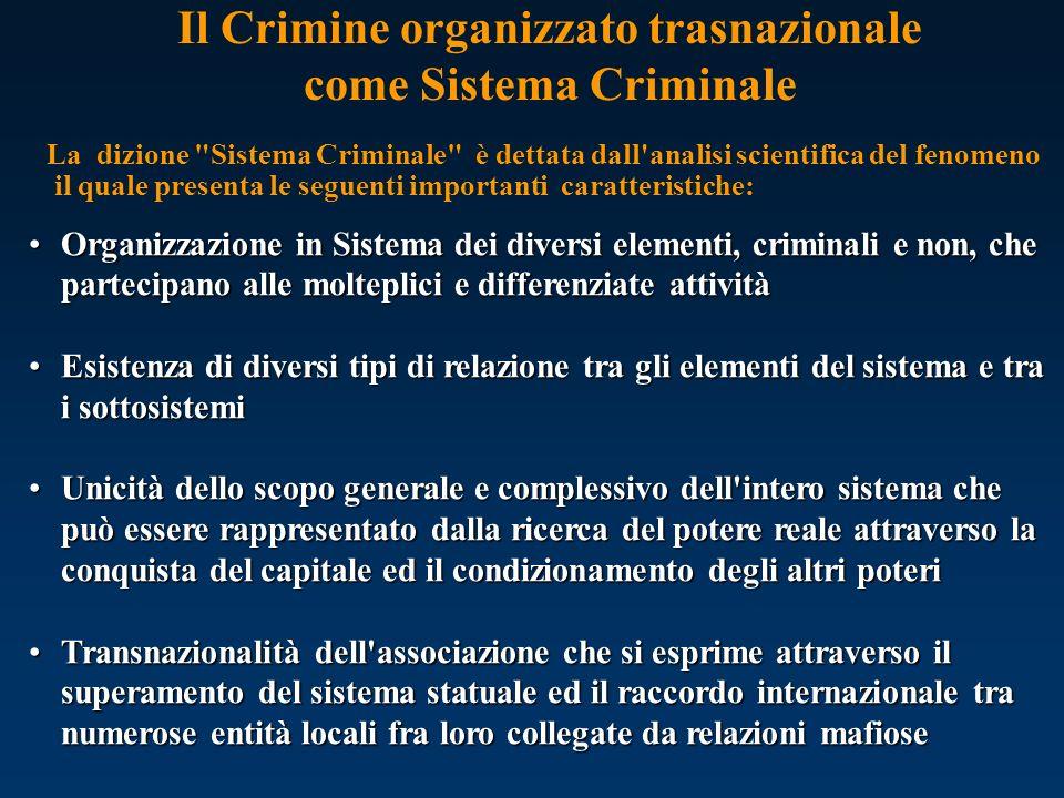 Il Crimine organizzato trasnazionale come Sistema Criminale