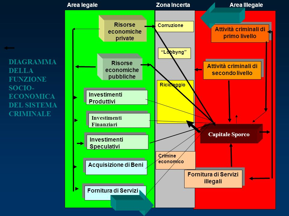 DIAGRAMMA DELLA FUNZIONE SOCIO-ECONOMICA DEL SISTEMA CRIMINALE