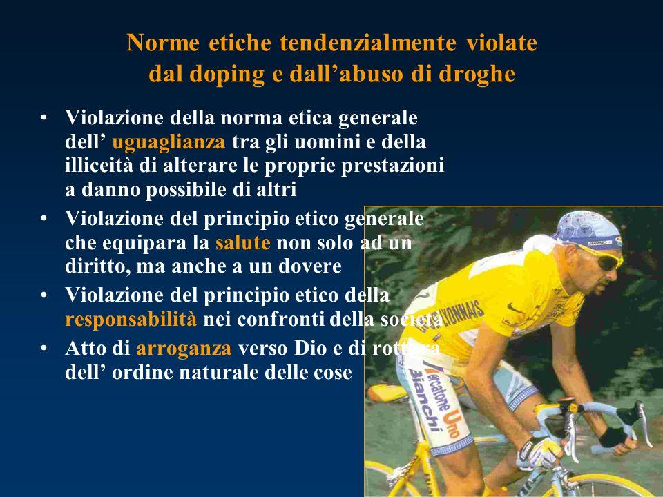 Norme etiche tendenzialmente violate dal doping e dall'abuso di droghe