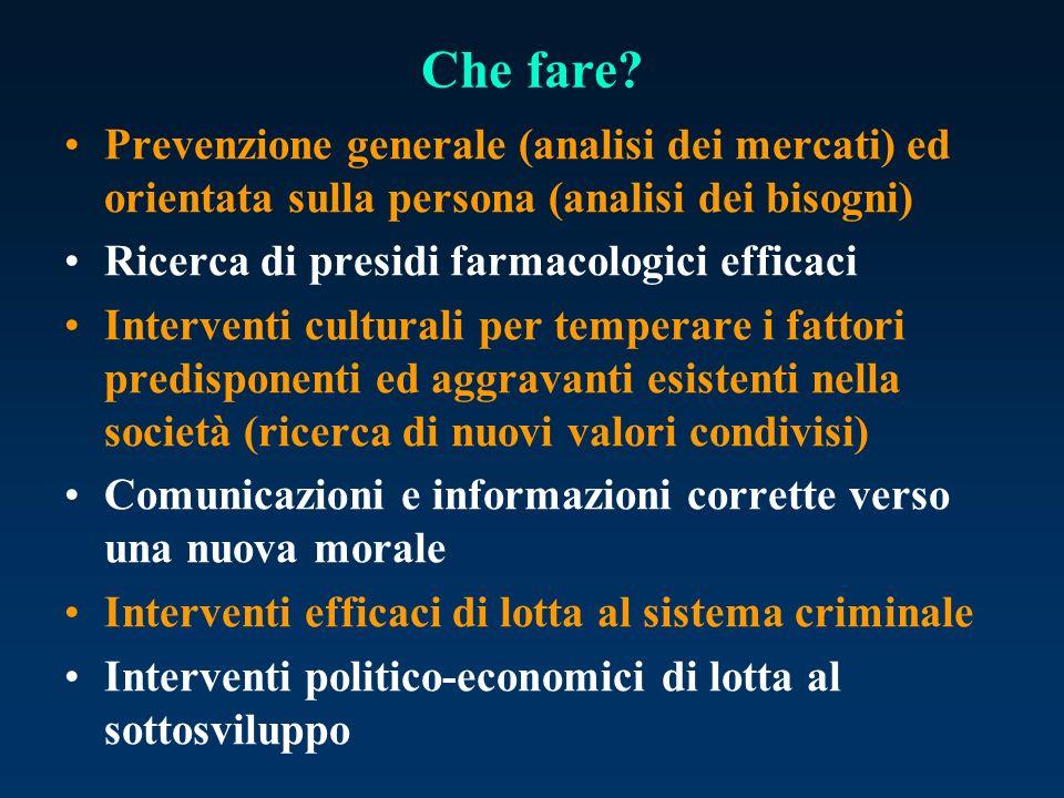 Che fare Prevenzione generale (analisi dei mercati) ed orientata sulla persona (analisi dei bisogni)
