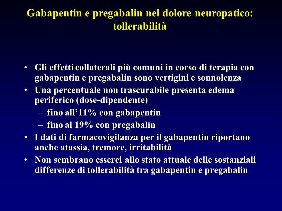 Gabapentin e pregabalin nel dolore neuropatico: tollerabilità