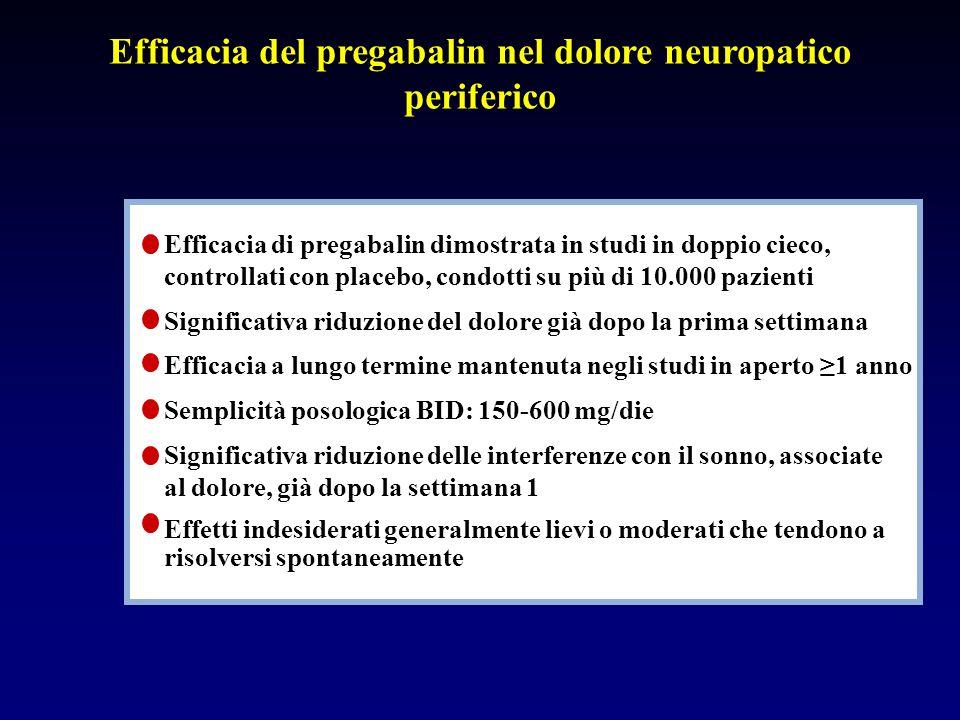 Efficacia del pregabalin nel dolore neuropatico periferico